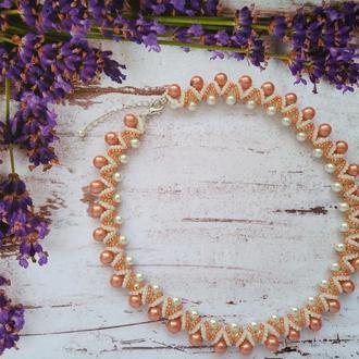 Колье, ожерелье из бисера и бусин