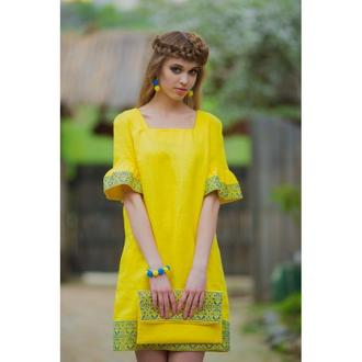 Вишита жовта сукня
