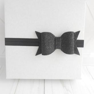 Стильная повязка с бантиком девочке в подарок на годик Украшение для волос малышке на фотосессиию