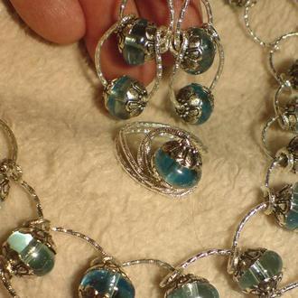 Комплект украшений : браслет ,серьги,кольцо