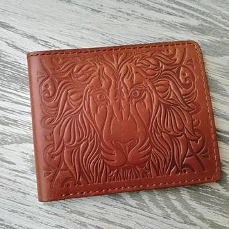 Портмоне мужское коричневое со львом