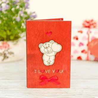 Открытка с деревянной обложкой Love you Мишка с сердцем,объём