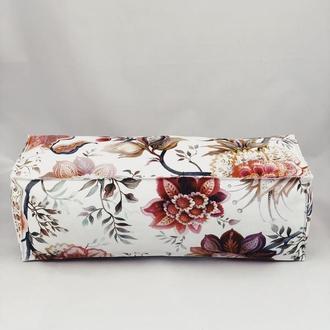 Подушка диванная гипоаллергенная. Подушка-валик. Прямоугольная подушка. Подушка с красными цветами.