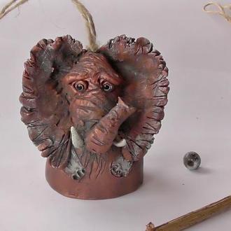 Керамический слон колокольчик