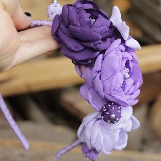 Фиолетовый ободок для волос с цветами для девочки