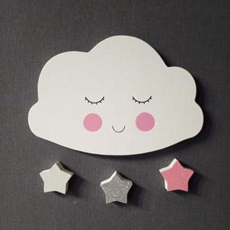 Облачко и звездочки в детскую комнату. Декор на стену
