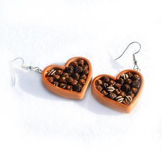 Сережки шоколадні сердця / Серьги шоколадные сердца