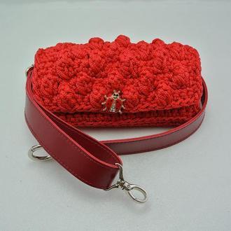 Сумочка на пояс Сумка на ремне Вязаная сумочка на пояс Поясная сумка красного цвета