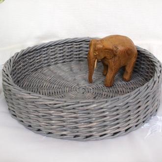 Плетеный круглый поднос Пасхальный поднос