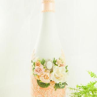 Свадебное шампанское персиковое / Оформление шампанского / Весільне шампаське персикове
