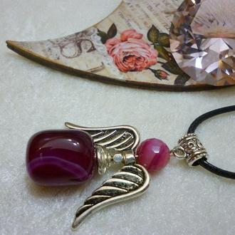 "Кулон - оберег из малинового агата"" Агатовый Ангел Заката"", 5,5 см."
