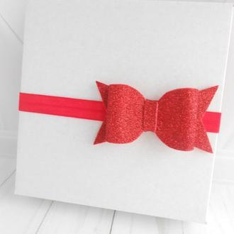 Красная повязка с бантиком на Валентина Украшение для волос девочке к фотосессии Подарок на крестины