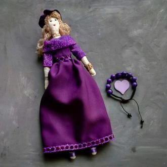 """Кукла """"Фиалка"""" в стиле тильда, текстильная, интерьерная"""