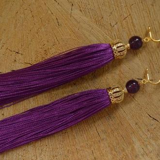 Клипсы - кисти фиолетовые с аметистом ′Мария′