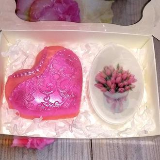 Сувенирное мыло: набор Сердечко-дама, овал с картинкой