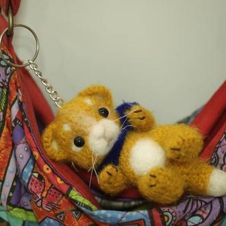 Брелок для сумки котик рыжий