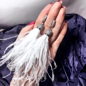 Серьги перья белоснежные