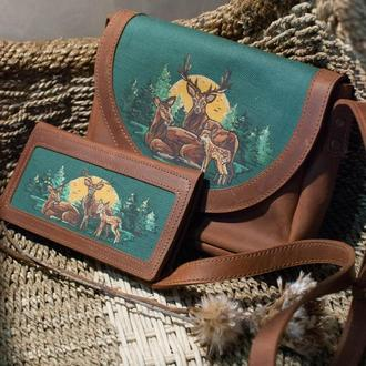 Кожаный кошелек набор с росписью