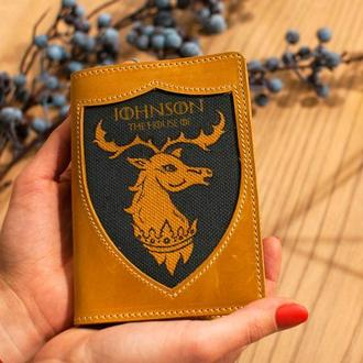 Обложка для паспорта Игры престолов кожаная с росписью и персонализацией