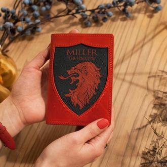 Кожаная обложка для паспорта Игры Престолов с ручной росписью и персонализацией в подарок