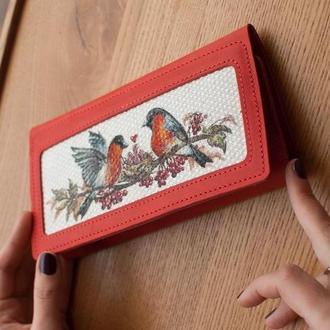 Кожаный кошелек клатч с росписью