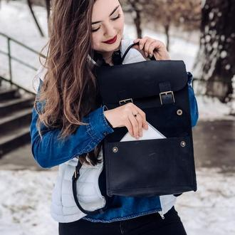 """Кожаный рюкзак """"Вивьен"""" в темно-синем цвете"""