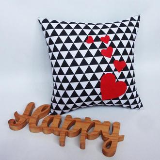 Декоративная подушка - сердца, геометрия подушка подарок ко дню святого Валентина, подушка сердце