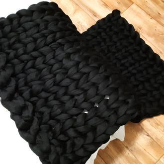 """Плед """"Black"""" из толстой мериносовой шерсти"""