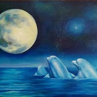 Дельфины картина маслом Рыбы в море Животные живопись Пейзаж луна Дельфин картина