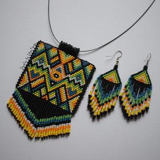 Серьги из бисера, подвеска из бисера, этнические украшения, этнически серьги, этно подвеска