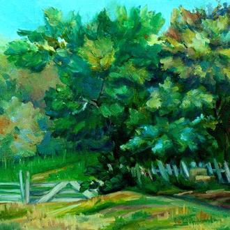 Пейзаж маслом Пейзаж прованс Деревья маслом Картина природа Картина прованс Художник Сельской пейзаж