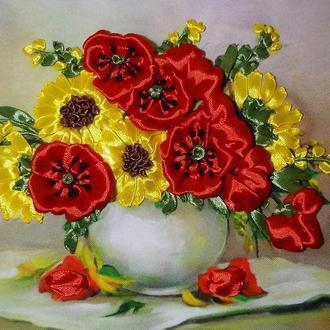 Вышивка лентами картина букет ваза маки подсолнухи подарок