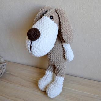Собака 39 см плюшевая зефирная собачка амигуруми вязаные игрушки