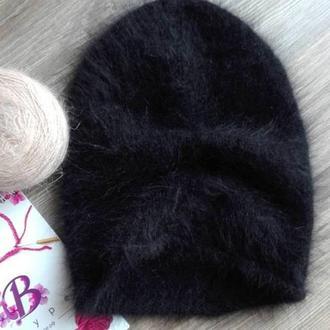 черная шапка бини пушистая кролик ангора Bregoli design ручная работа итальянская пряжа hand made
