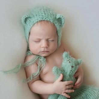 Комплект шапочка с ушками, штанишки и мишка для фотосессии новорожденных