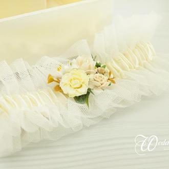 Подвязка невесты молочная / Молочна підв'язка для нареченої / Айвори подвязка