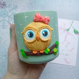 """Чашка с декором из полимерной глины """"Совушка"""""""