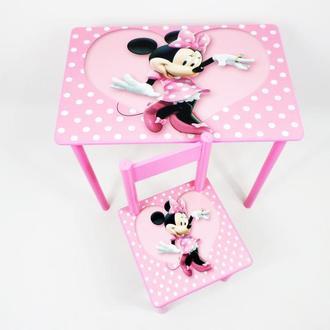 """Детский столик с ящиком и стульчик """"Минни"""" от 1 до 6 лет"""