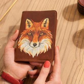Обложка для паспорта кожаная с росписью