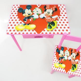 Детский столик с ящиком и стульчик Минни Маус от 1 до 6 лет