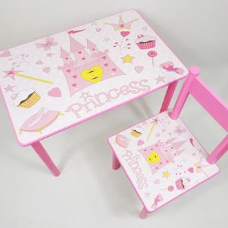 Детский столик и стульчик Принцесса от 1 до 6 лет