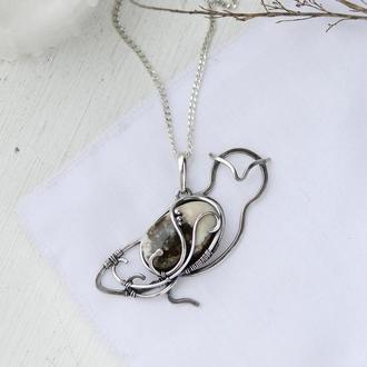 Кулон срібний жіночий Полярна сова з яшмою