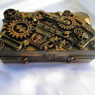 шкатулка-купюрница в стиле Стимпанк (Steampunk) втехнике Ассамбляж (assemblage)