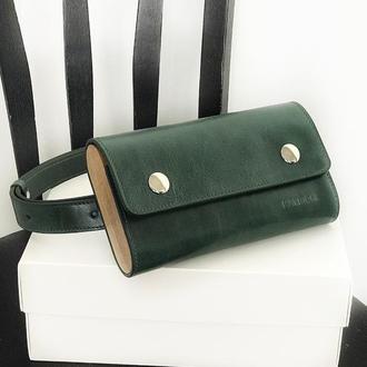 • Повседневная поясная сумка-бананка, клатч из натуральной кожи и дерева •