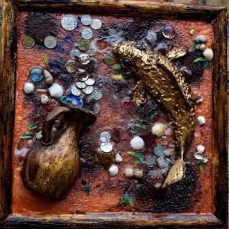 """Рельефное панно""""Золотой карп"""" размер 30х30см"""