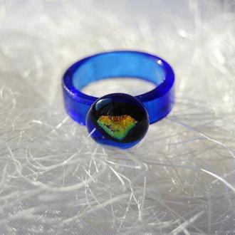 """Стеклянное кольцо """"Голубая лагуна"""", фьюзинг."""
