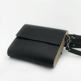 • Классическая сумка кроссбоди из натуральной кожи и дерева •