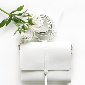 • Элегантная сумка кроссбоди из натуральной кожи и дерева с крышкой на кобурной кнопке •