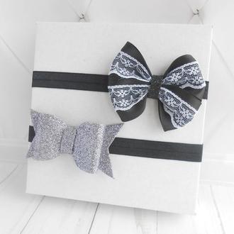 Набор модных повязок для малышки на фотосессию Праздничное украшение на голову Подарок на годик