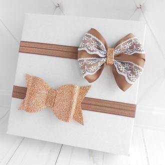 Нарядные коричневые повязки с бантиком для малышки Набор праздничных украшений для волос девочке